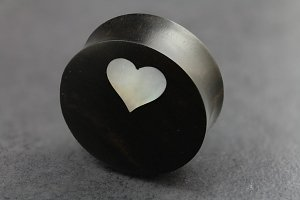 Areng Wood with Mother of Pearl Heart Flared Plugs
