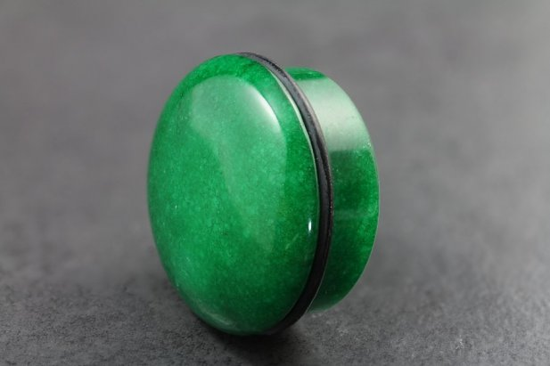 Image of Green Stone Top Hat Plug body piercing jewellery NZ