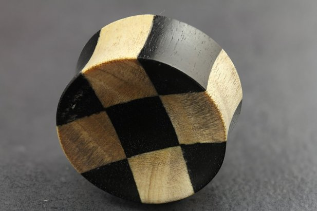 Image of Wooden Checkerboard Flared Plugs body piercing jewellery NZ