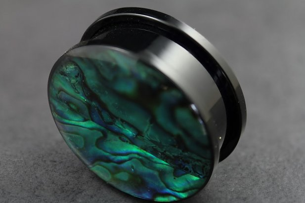 Image of Acrylic Tunnel with Abalone Shell body piercing jewellery NZ