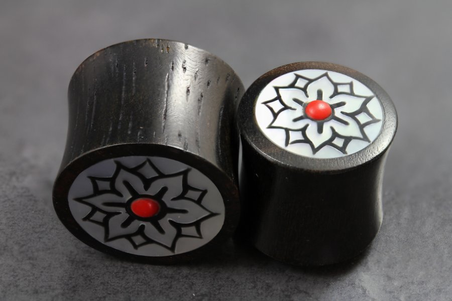 Image of Black Wood Horn and Mother Of Pearl Plugs