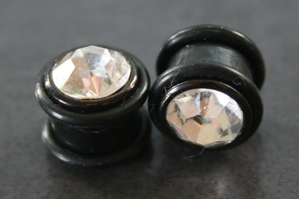 Image of Black Cubic Zirconia Plug body piercing jewellery NZ