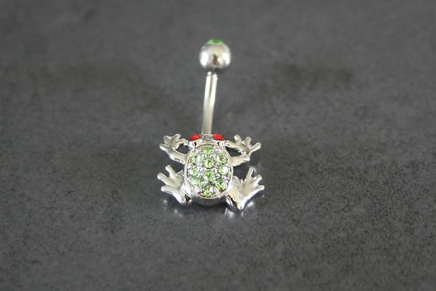 Image of Green Garden Frog Belly Ring body piercing jewellery NZ
