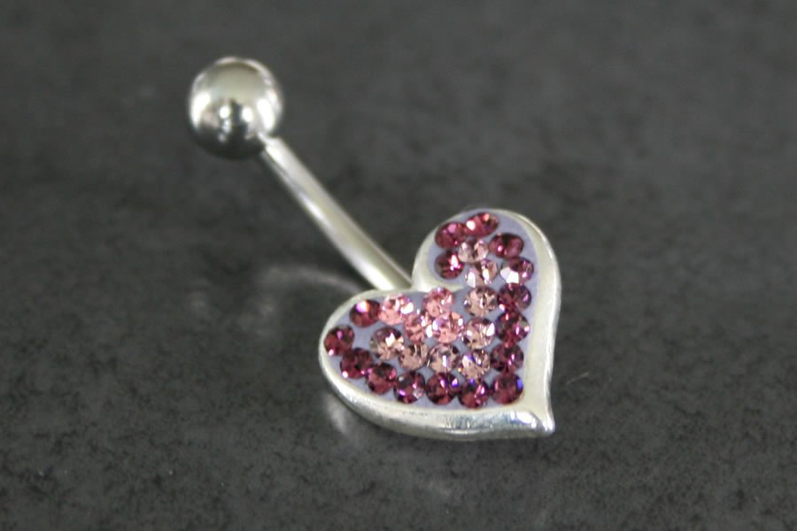 Image of Crystal Explosion Heart Belly Ring