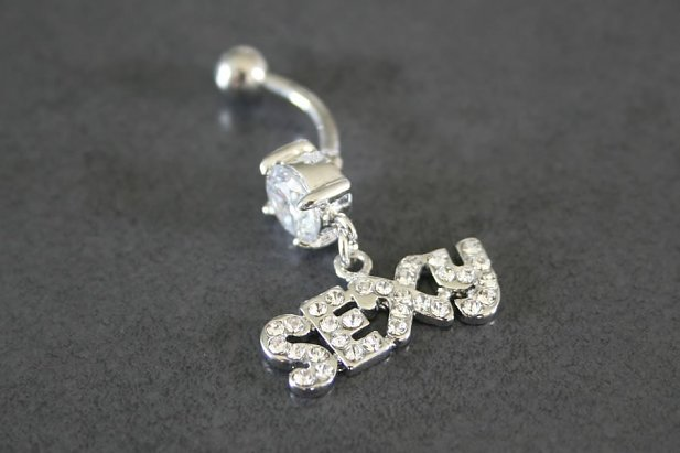 Image of Sexy Dangle Solitaire Belly Ring body piercing jewellery NZ