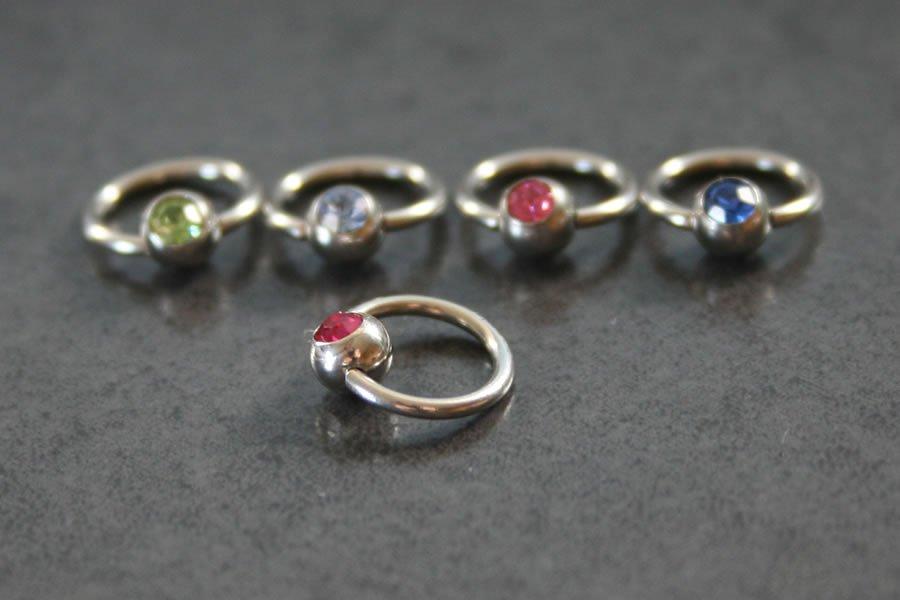 Image of Jewelled Captive Bead Ring