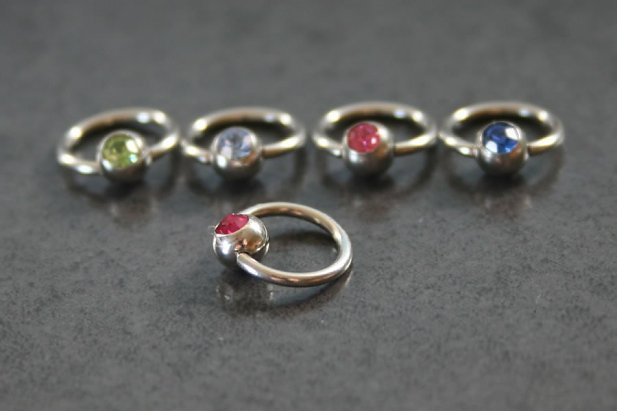 Image of Jewelled Captive Bead Ring body piercing jewellery NZ