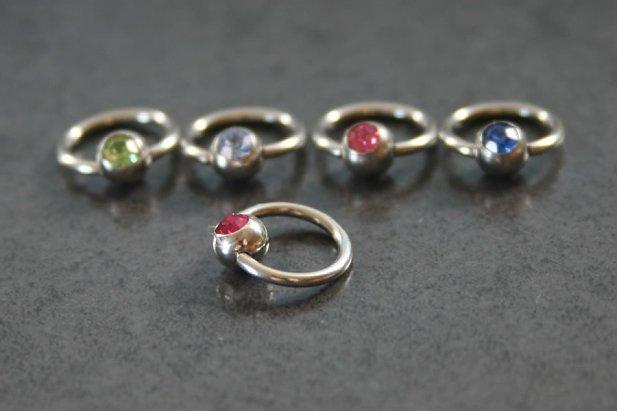 Image of Jewelled Captive Bead Ring body piercing jewellery NZ