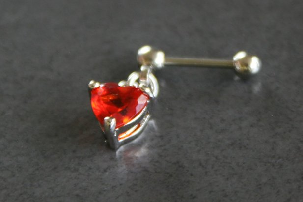 Image of Red Heart Dangle Helix/Tragus body piercing jewellery NZ