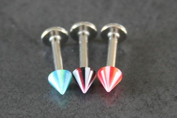 Image of Stripy Beach Ball Cone Labrets body piercing jewellery NZ