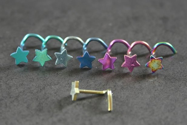 Image of Coloured Star Nose Screw body piercing jewellery NZ