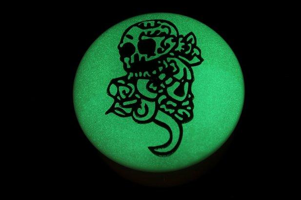 Acrylic Glow in the Dark Skull & Tail Flared Plugs