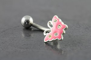 Baby Pink Butterfly Belly Bar