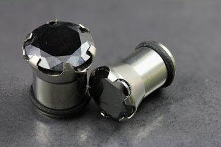 Black Cubic Zirconia Steel Plugs