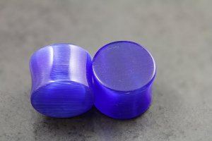 Blue Cats Eye Glass Plugs