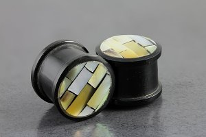 Buffalo Horn and Mother of Pearl Plugs