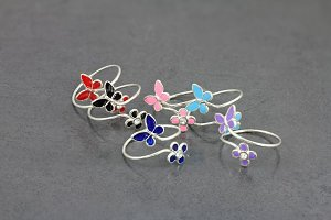 Butterfly and Flower Dainty Toe Ring