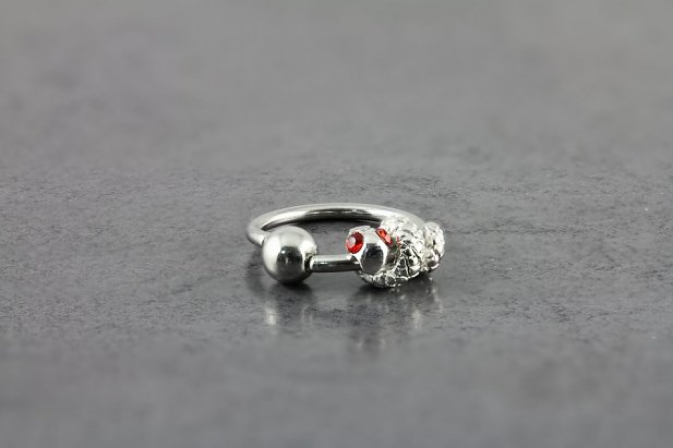 Captive Bead Ring with Jeweled Snake