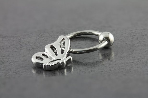 Captive Bead Ring with Sexy Butterfly