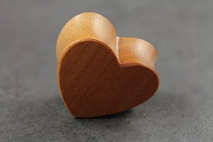 Carved Sawo Wood Heart Plugs