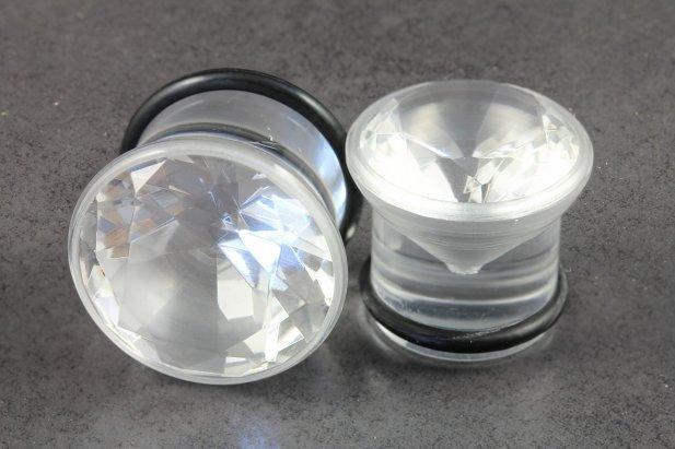 Clear Acrylic Single Flared Cubic Zirconia Plug
