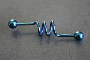 Colbalt Blue Corkscrew Barbell