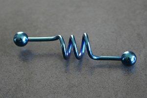 Colbalt Blue Corkscrew Barbell