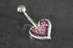 Crystal Explosion Heart Belly Ring