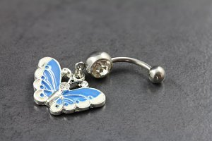 Crystal Jewel Butterfly Belly Bar