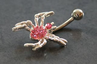 Crystal Spider Belly Ring