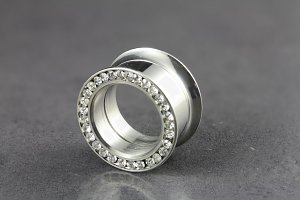 Cubic Zirconia Double Flared Tunnel