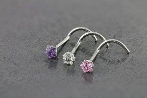 Cubic Zirconia Star Nose Screw