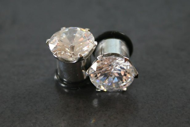 Cubic Zirconia Steel Plugs