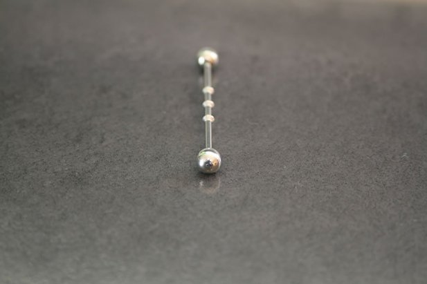 Designer Industrial Ear Barbell with Large Diamond Cuts