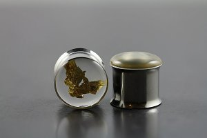 Double Flare Ear Plugs with Encapsulated Real Gold