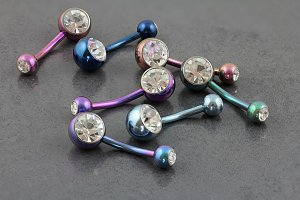 Double Gem Internally Threaded Titanium Belly Bar
