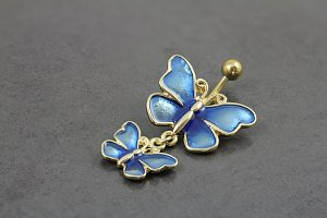Double Stained Butterfly Belly Ring