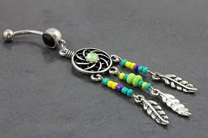 Dream catcher Beaded Charm Belly Ring