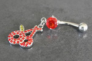 Gem Cherries Dangle Belly Ring