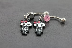 Girly Skeleton Belly Bar
