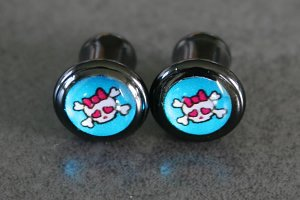Girly Skull Logo Acrylic Saddle Plugs