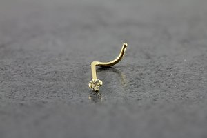 Gold 2.0mm Round CZ Nose Screw