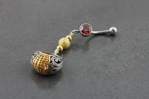 Gold and Silver Bali Belly Dangle
