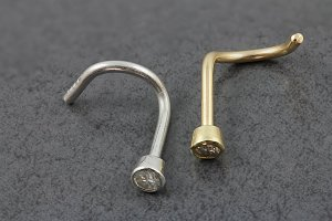 Gold Bezel Set CZ Nose Screw