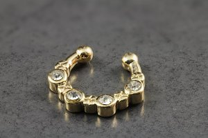 Gold Brass Clip On Septum Ring