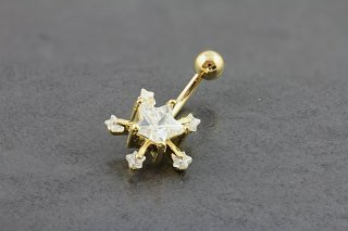 Gold Plated Starburst Belly Bar