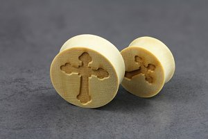 Gothic Cross Wooden Plugs