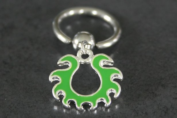 Green Fire Dangle Nipple Ring