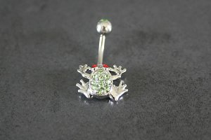 Green Garden Frog Belly Ring