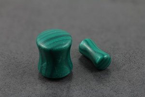 Green Malachite Double Flared Plugs